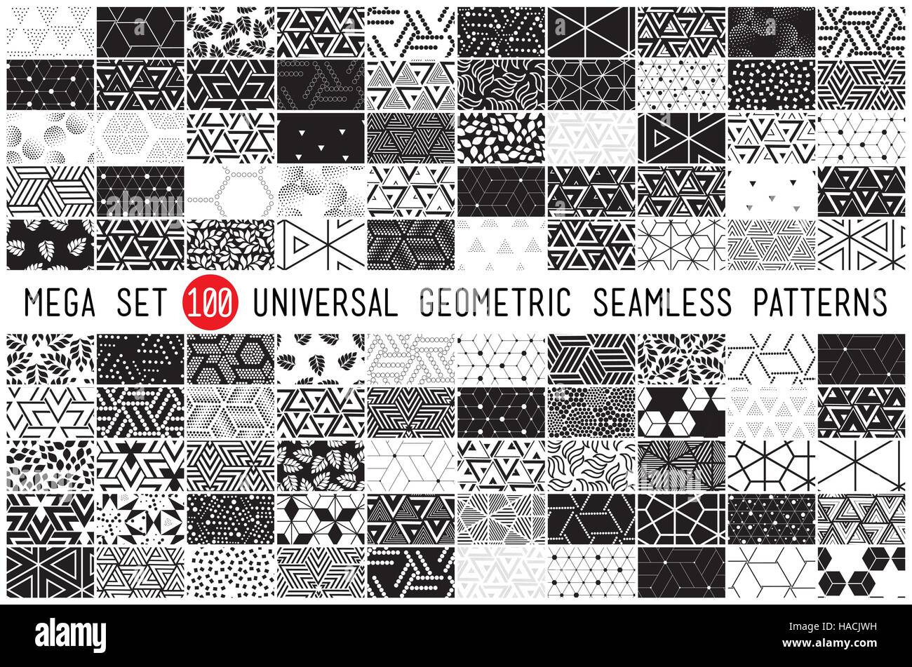 hundred universal different geometric seamless patterns - Stock Vector