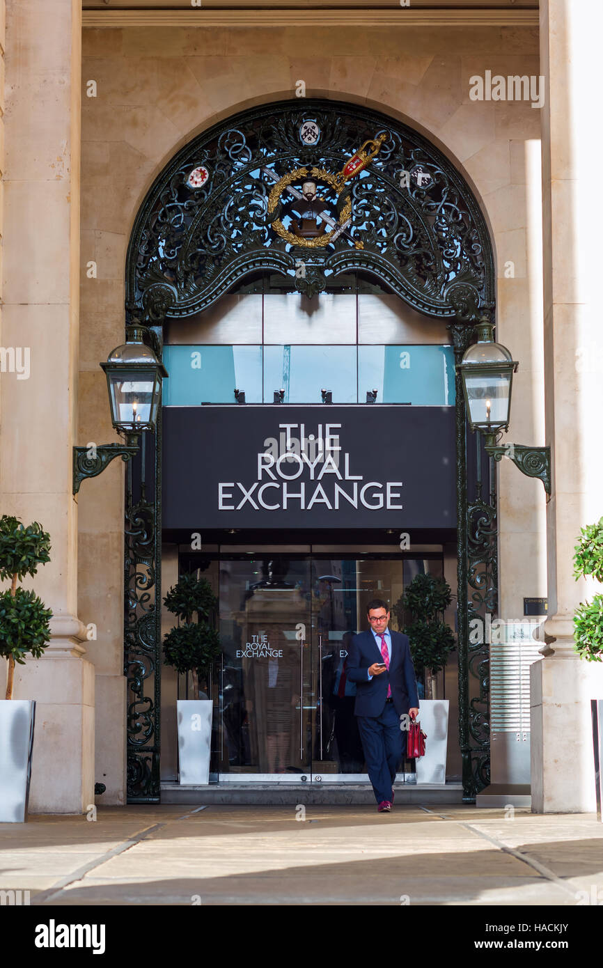 London, UK - June 15, 2016: Royal Exchange in London with unidentified person. It was founded in 16th century by - Stock Image
