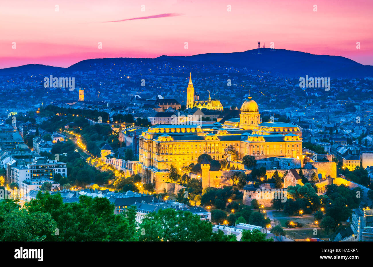 Budapest, Hungary. Buda Castle as seen from Gellert Hill in Magyar capital city. - Stock Image