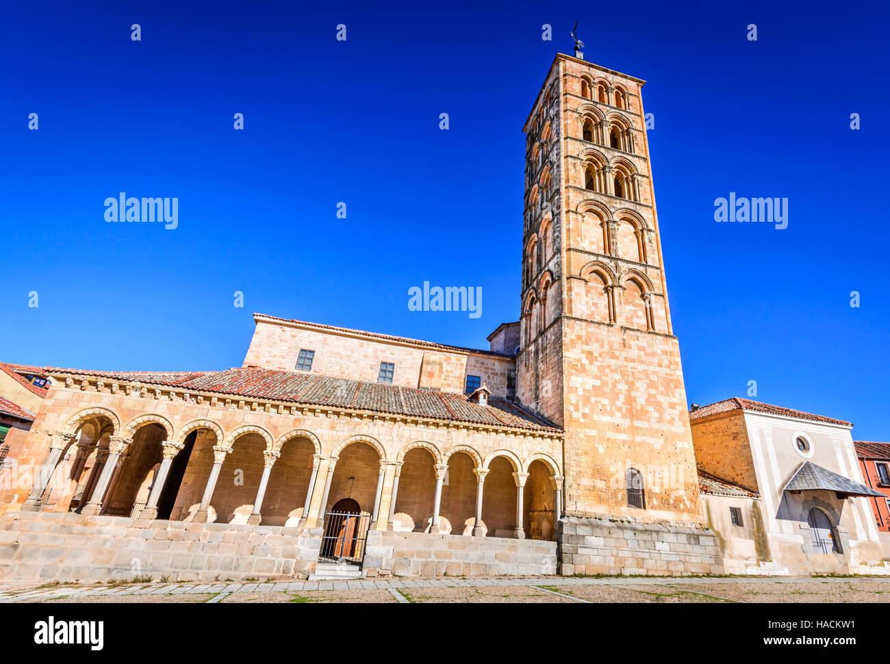 Segovia, Spain. Plaza San Esteban and the church, Castilla y Leon, Spanish medieval cathedral. - Stock Image