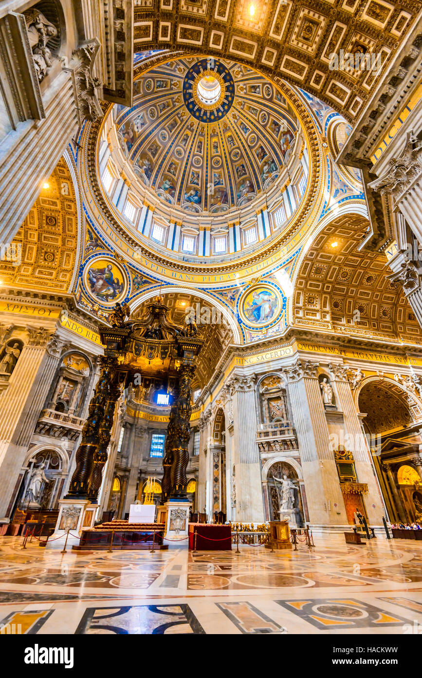 Rome, Italy. Interior image of dome Saint Peters Basilica, Renaissance architecture of Roma. Vatican. - Stock Image