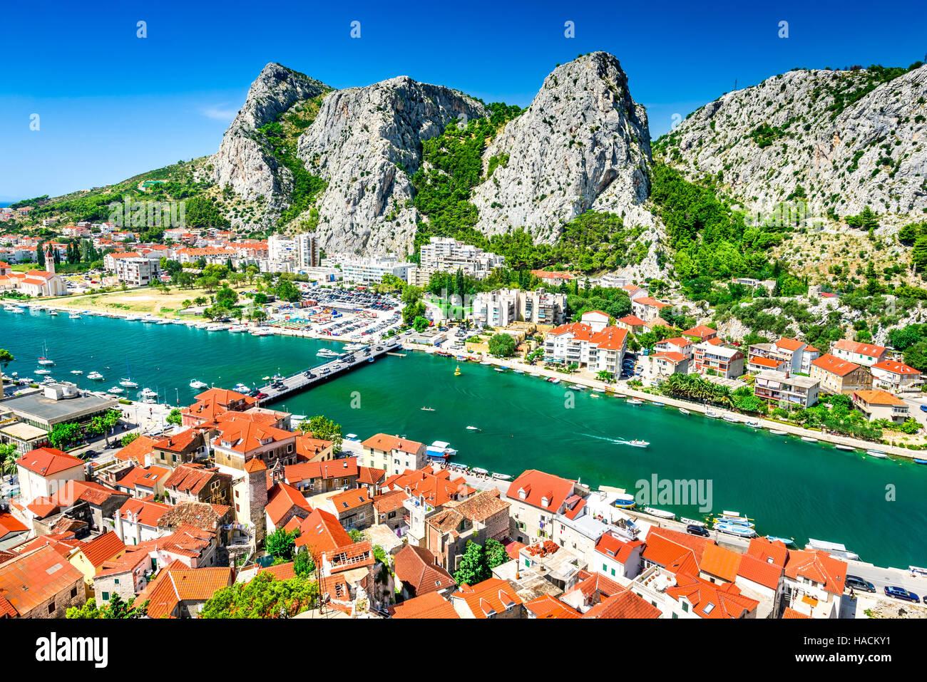Omis, Croatia. Dalmatia Coast panorama with emerald-green Cetina River, Croatian travel landmark at Adriatic Sea. - Stock Image