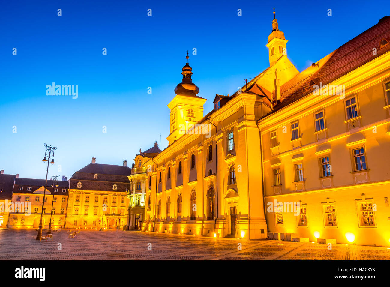 Sibiu, Romania. Twilight image of Large Square, Transylvania. - Stock Image