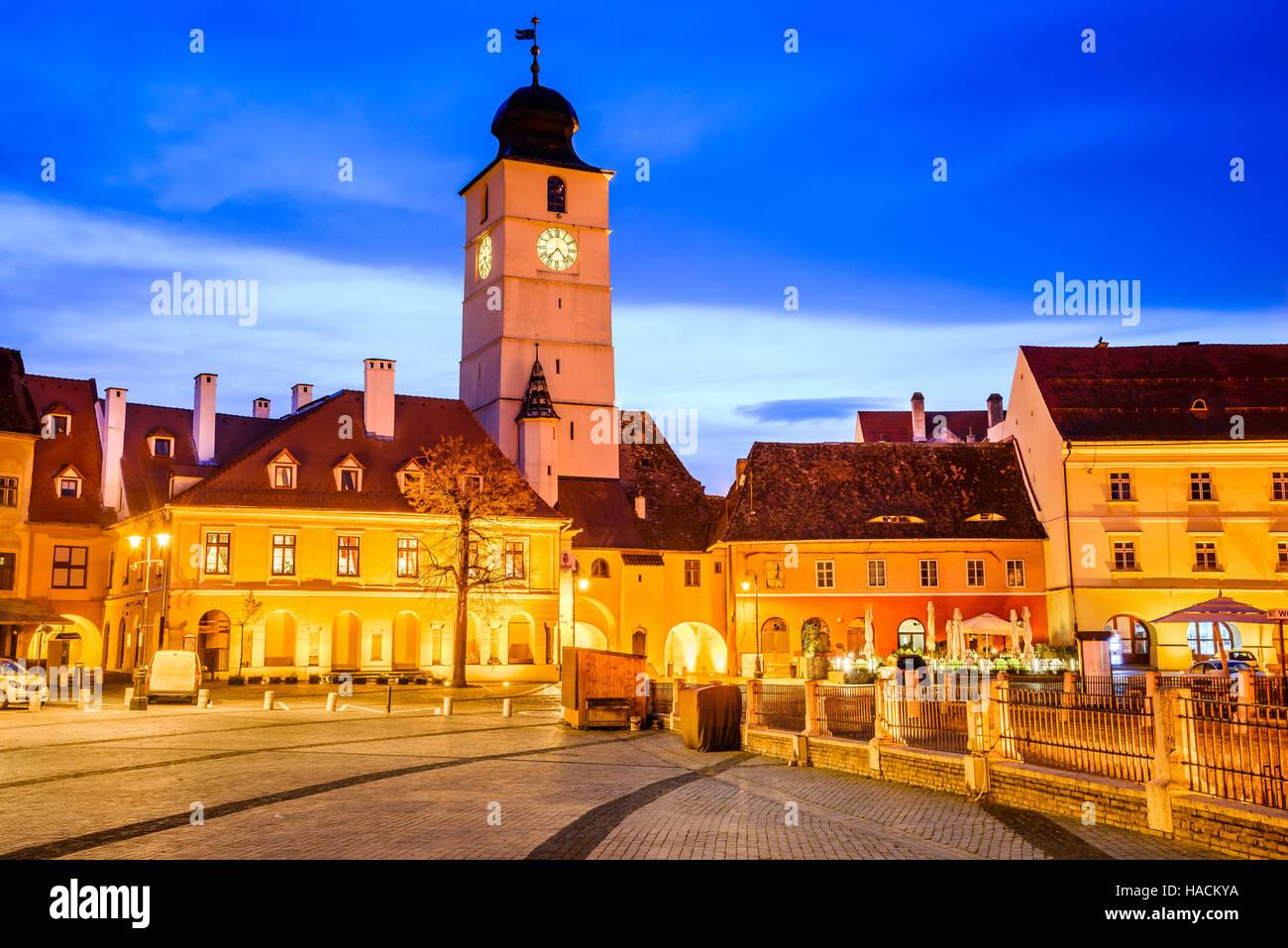 Sibiu, Romania. Twilight image of Council Tower in Small Square, Transylvania. Stock Photo
