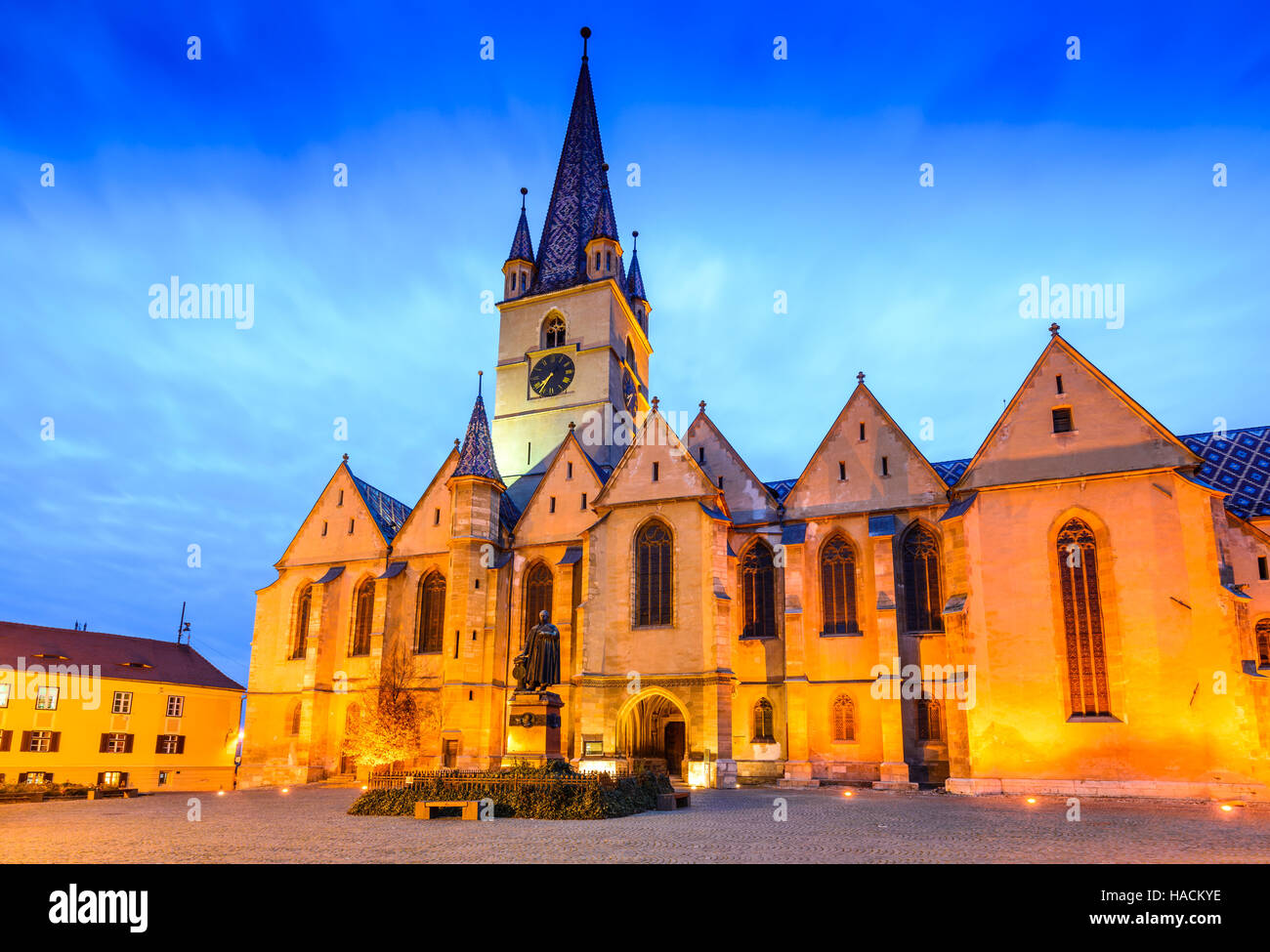 Sibiu, Romania. Evangelical Cathedral in the center of Sibiu, Transylvania, European Capital of Culture for the - Stock Image