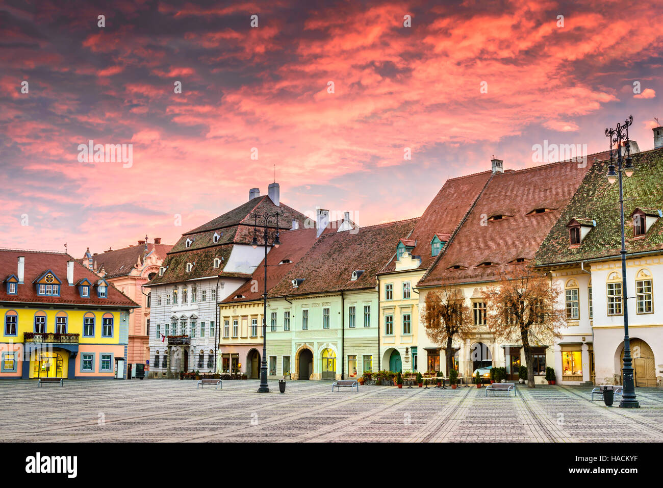 Sibiu Romania Colorful Clouds On Sunrise Large Square In Sibiu