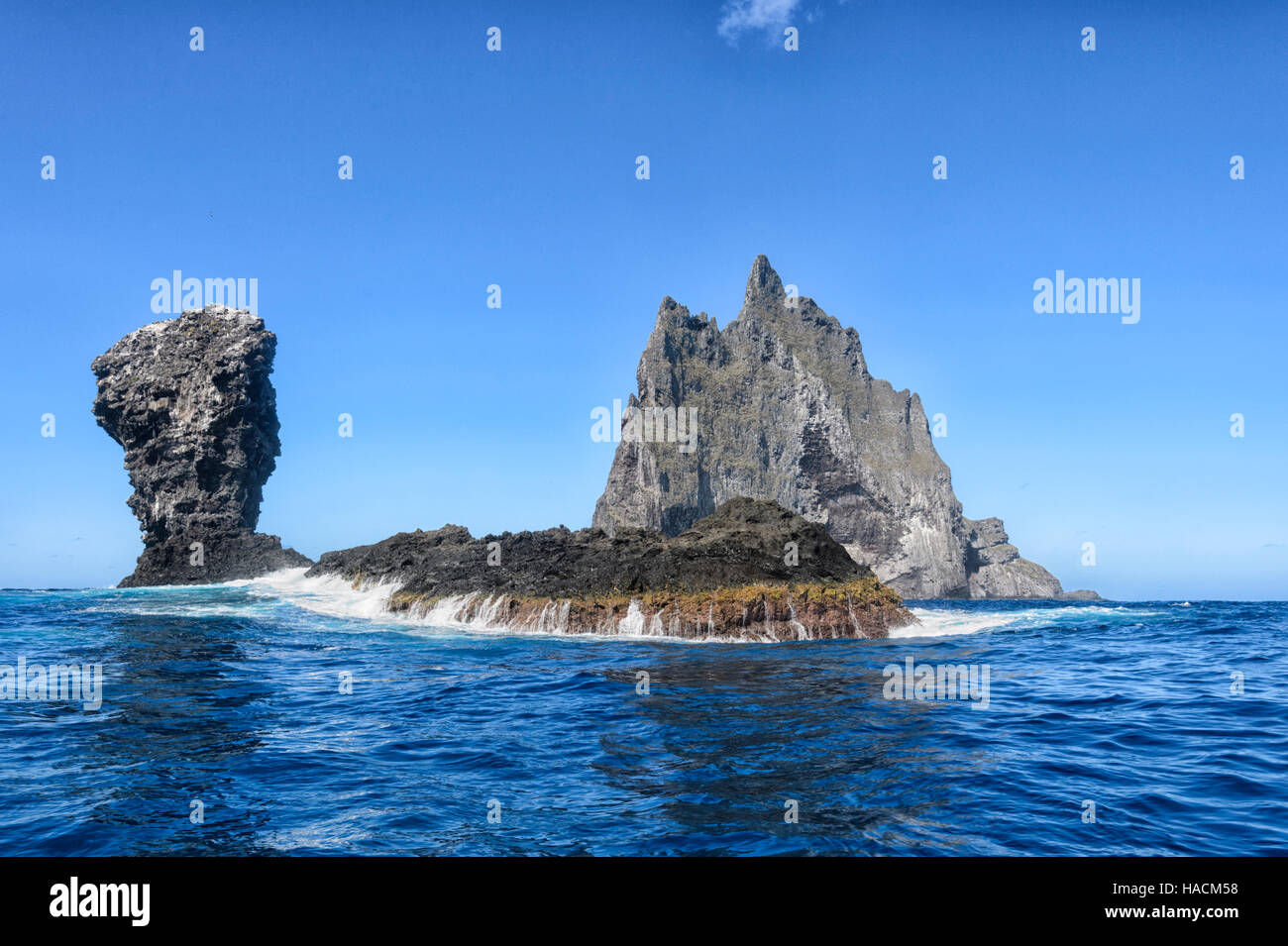 Ball's Pyramid, an ancient volcano 20km from Lord Howe Island, New South Wales, NSW, Australia Stock Photo