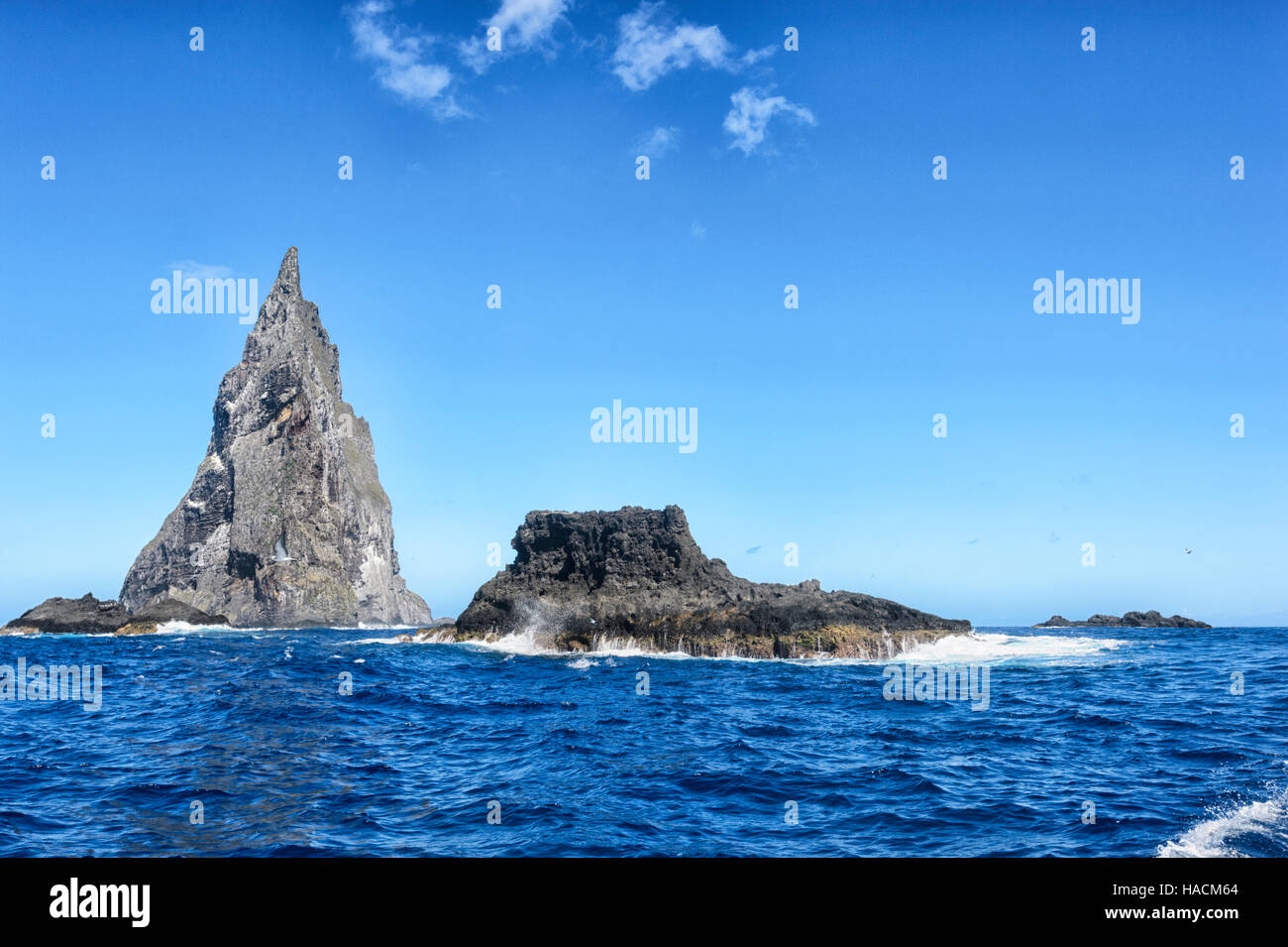 Ball's Pyramid, a 562 metres (1,844 ft) high ancient volcano, lies 20km from Lord Howe Island, New South Wales, Stock Photo