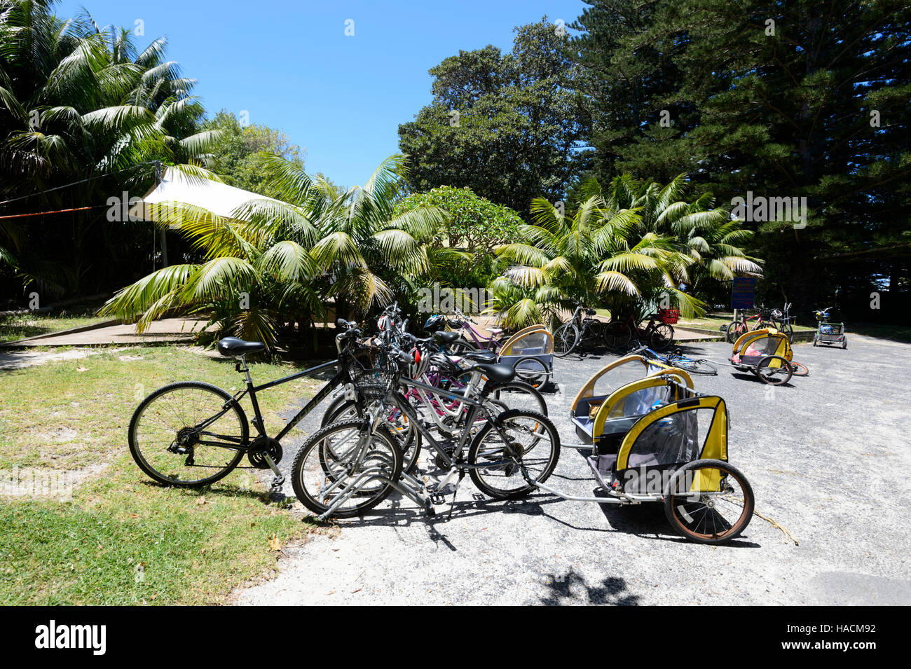 Bicycles commonly used on Lord Howe Island, as an eco-friendly way of transport, New South Wales, NSW, Australia - Stock Image