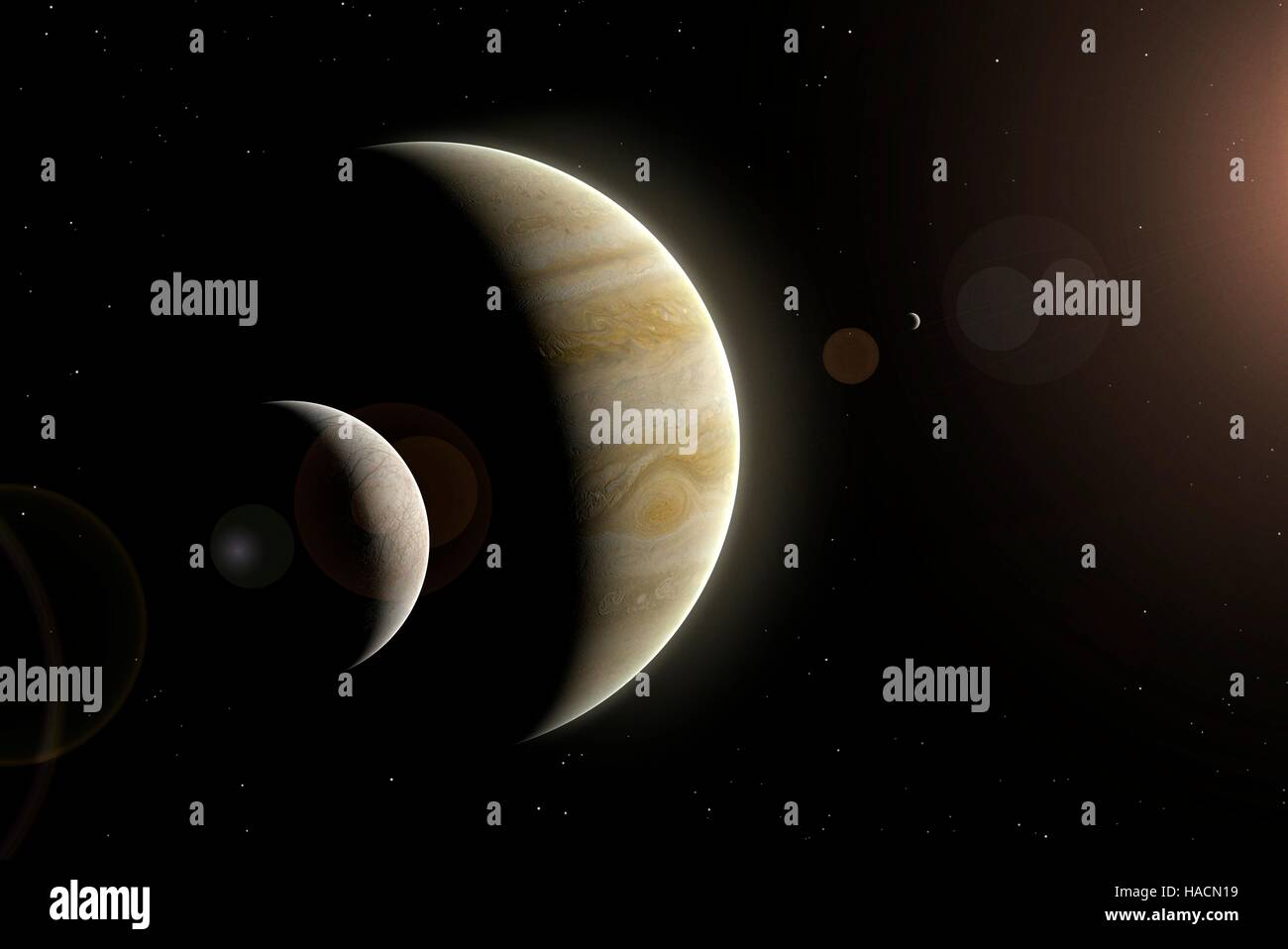 Illustration of Jupiter and two of its largest satellites, Europa (left) and Io (right). Europa is the smallest - Stock Image