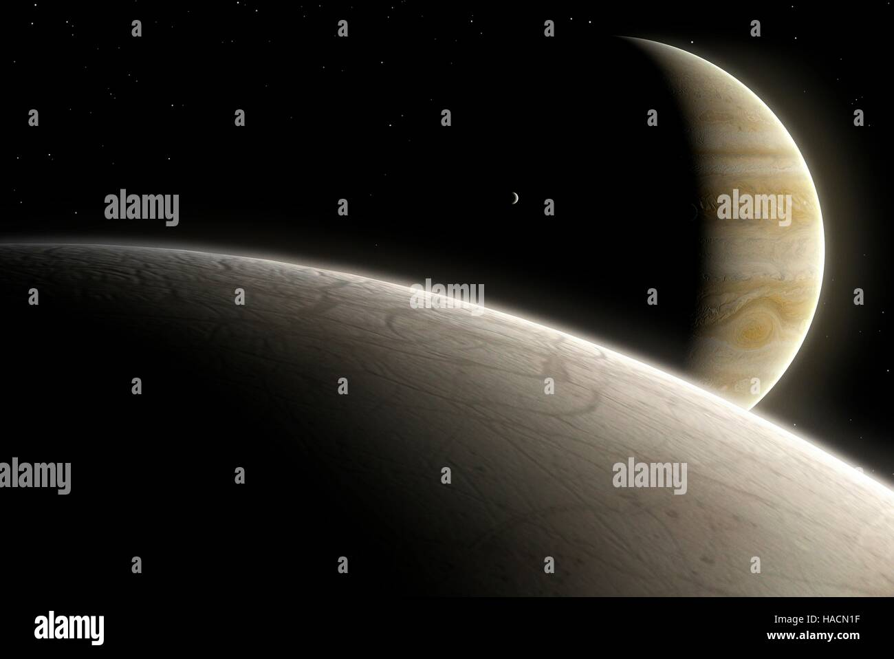 Europa is the smallest of the four Galilean moons of Jupiter, and the second closest to the planet. Its surface - Stock Image
