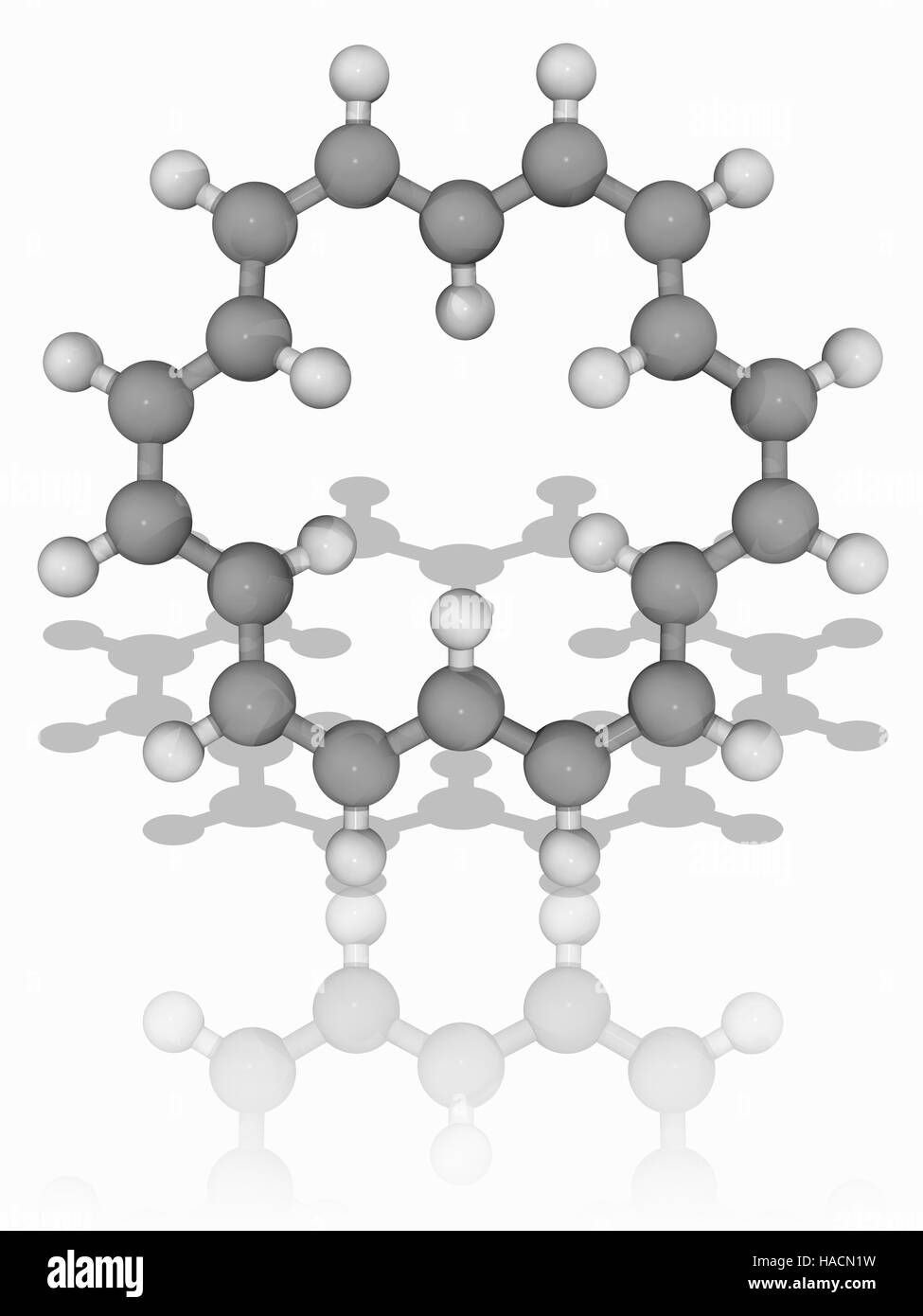 18-annulene. Molecular model of the hydrocarbon 18-annulene (C18.H18). This is an aromatic completely conjugated - Stock Image