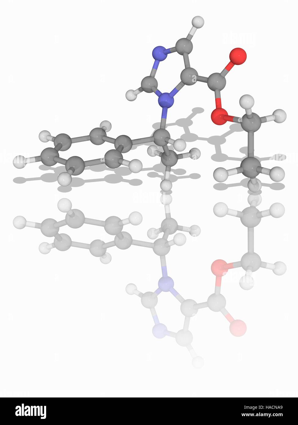 Etomidate. Molecular model of the drug etomidate (C14.H16.N2.O2), used as a short-acting intravenous anaesthetic - Stock Image