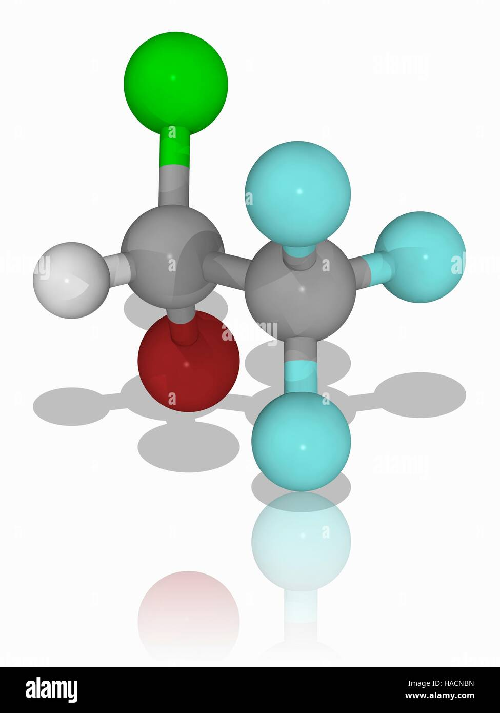 Halothane. Molecular model of the anaesthetic drug halothane (C2.H.Br.Cl.F3). This general anaesthetic is delivered Stock Photo
