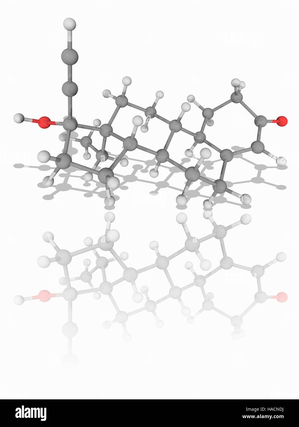 Levonorgestrel. Molecular model of the synthetic hormone levonorgestrel (C21.H28.O2). This second-generation synthetic - Stock Image