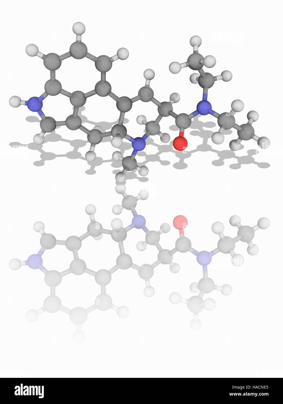 LSD drug  Molecular model of lysergic acid diethylamide Stock Photo