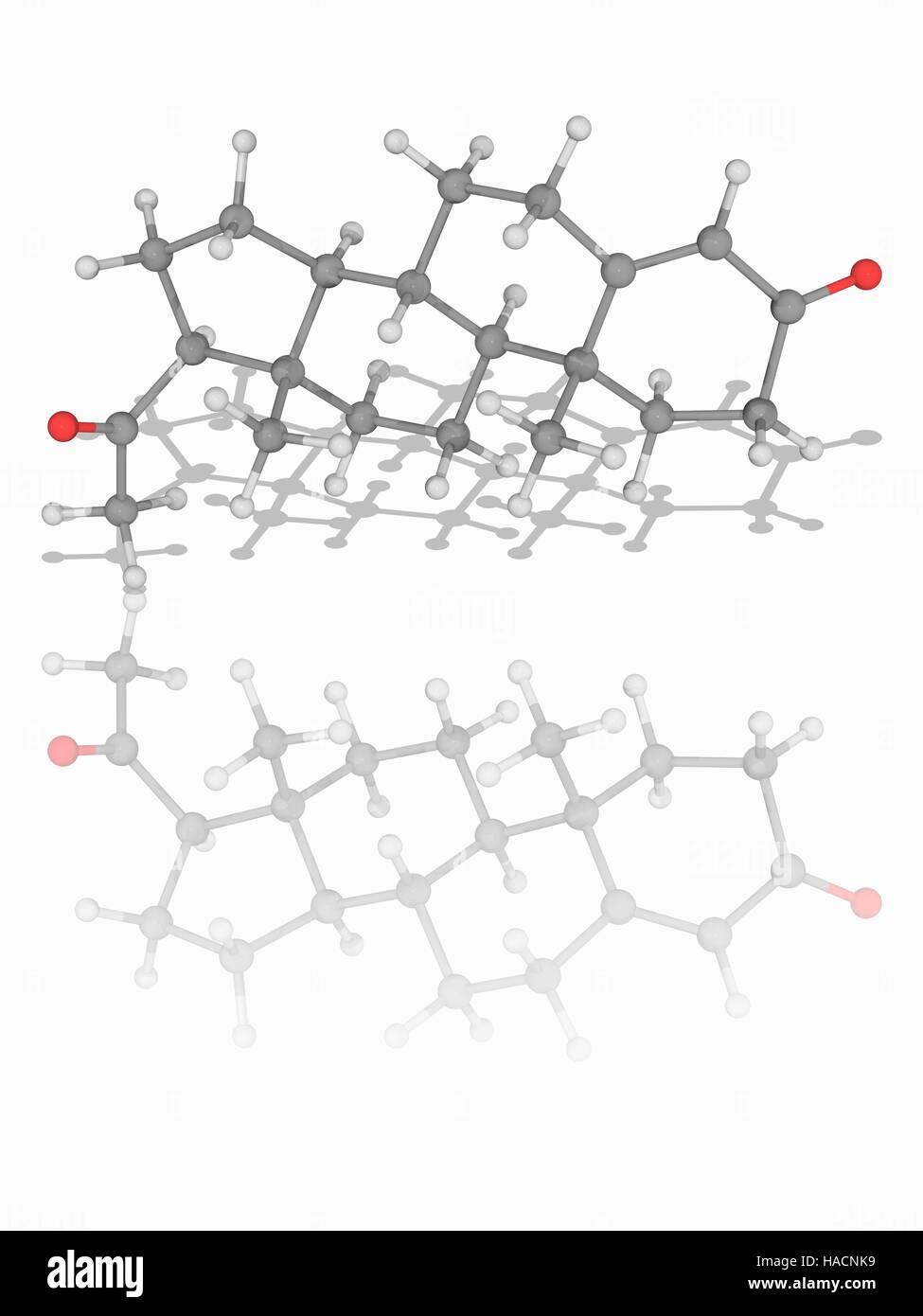 Progesterone. Molecular model of the steroid hormone progesterone (C21.H30.O2), involved in the female menstrual Stock Photo