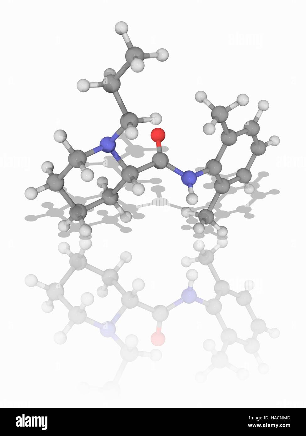 Ropivacaine. Molecular model of the local anaesthetic drug (C17.H26.N2.O), marketed as Naropin. Chemically it is - Stock Image
