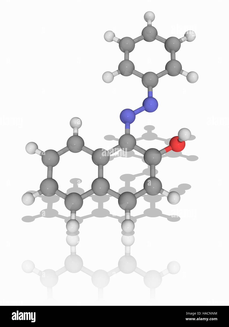 Sudan I. Molecular model of the dye and organic compound Sudan I (C16.H12.N2.O), also known as Solvent Orange R - Stock Image
