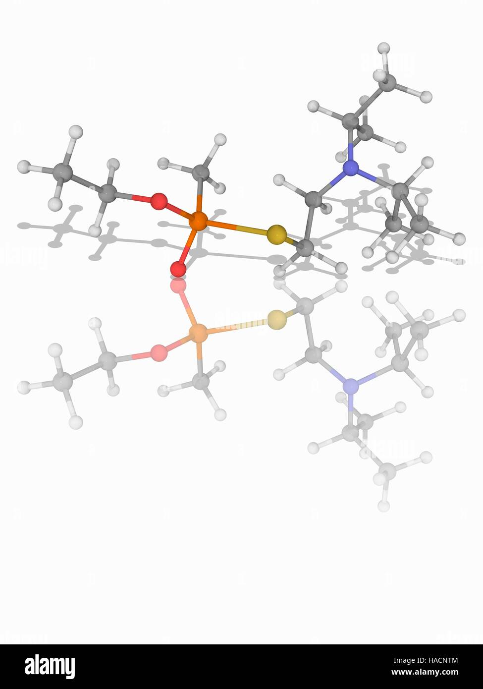 VX nerve gas. Molecular model of the extremely toxic nerve agent VX (C11.H26.N.O2.P.S), used as a weapon of mass - Stock Image