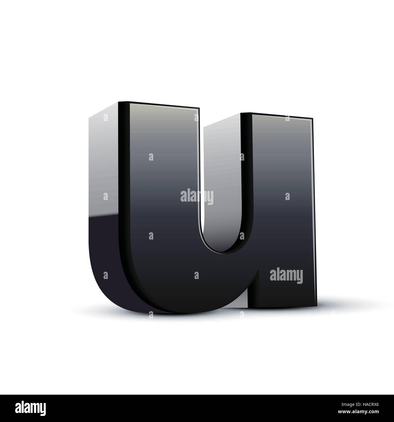 Left Tilt Black Letter U 3d Illustration Graphic Isolated On White