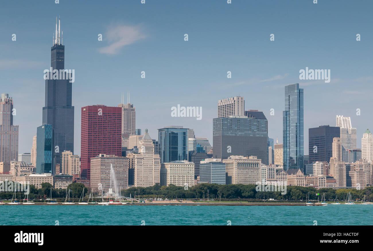 Chicago skyline across Lake Michigan - Stock Image