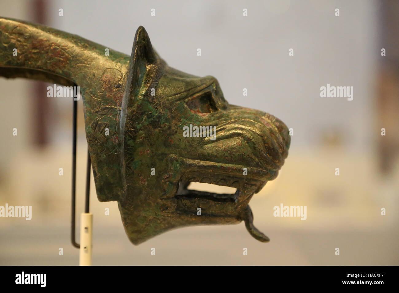 Yoke appliques. Bronze. Iberian culture. 4th century BC. Mengibar, Jaen. National Archaeological Museum, Madrid. - Stock Image