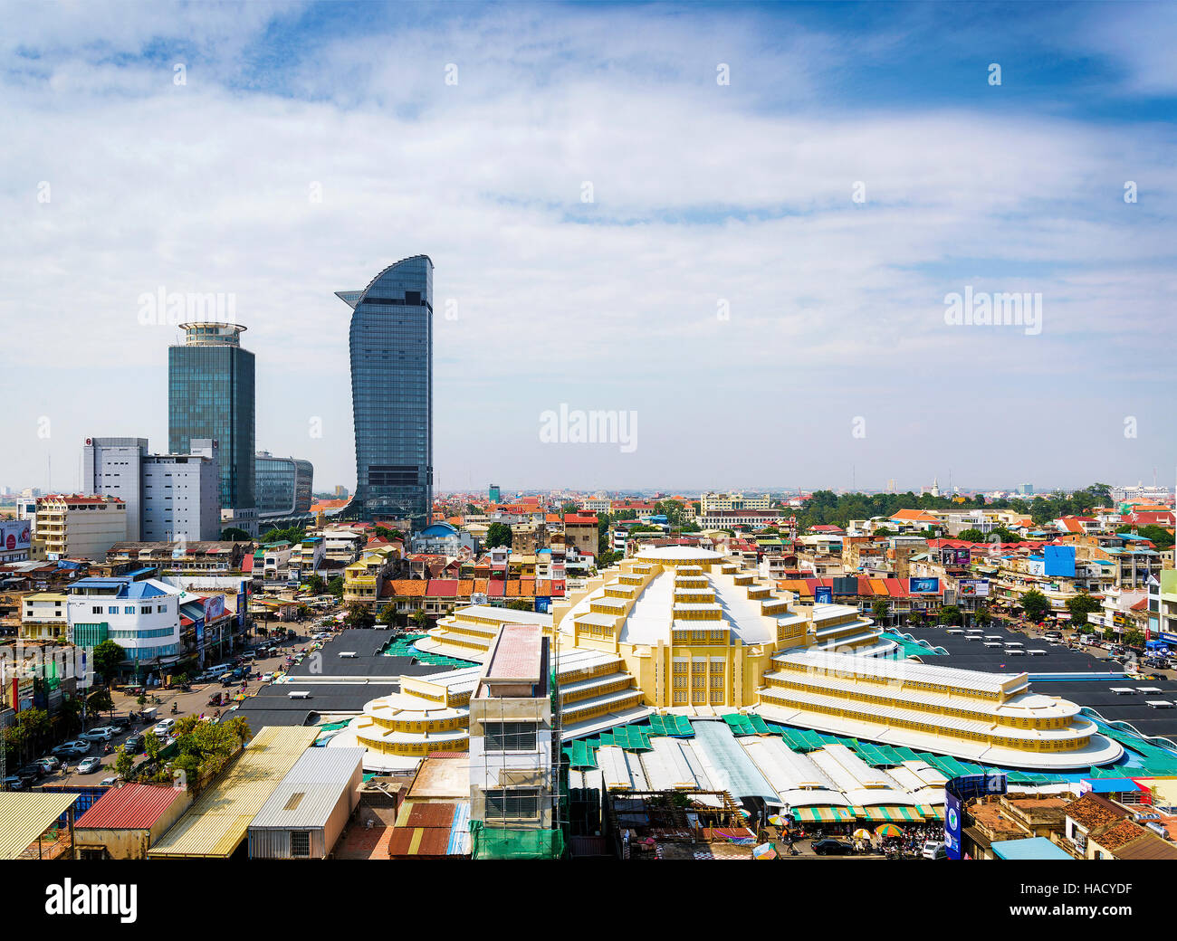 central market landmark and skyscrapers view in phnom penh city cambodia - Stock Image