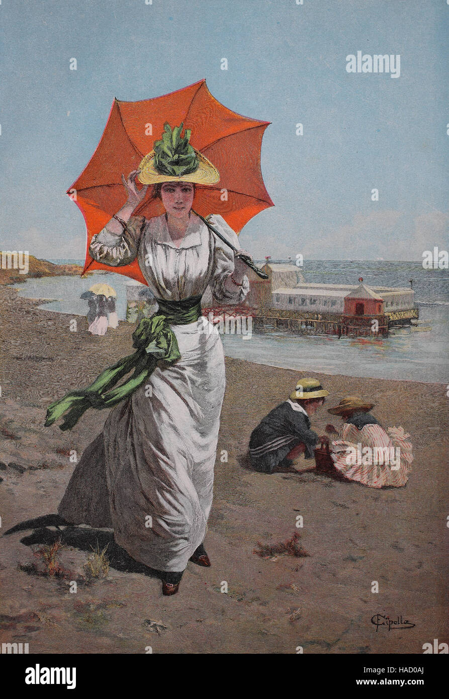 Elegant woman on the beach of the Baltic Sea, Germany, with umbrella, illustration published in 1880 - Stock Image