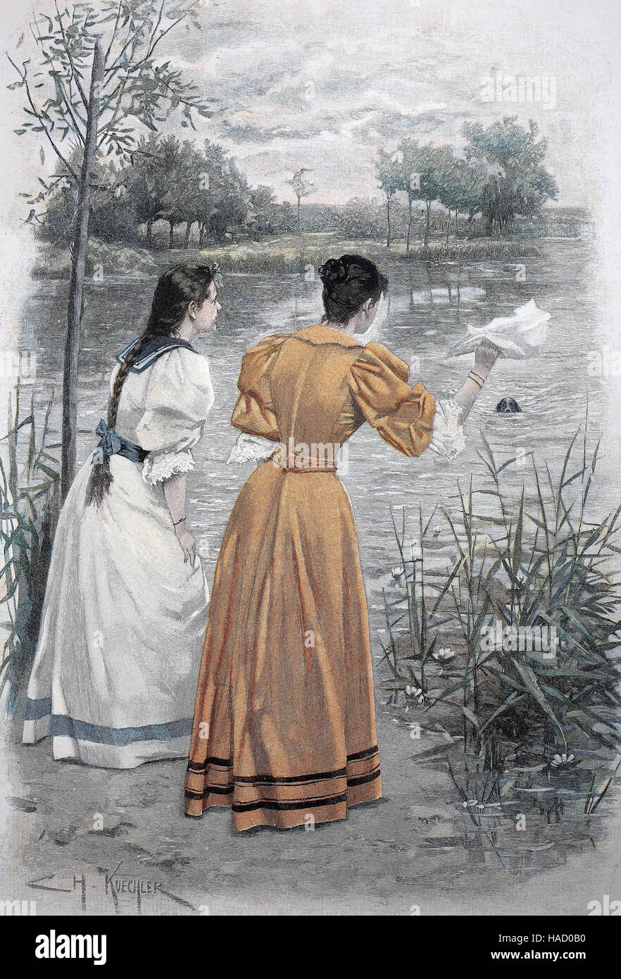 Two women are waiting for their dog swimming in the lake, illustration published in 1880 - Stock Image