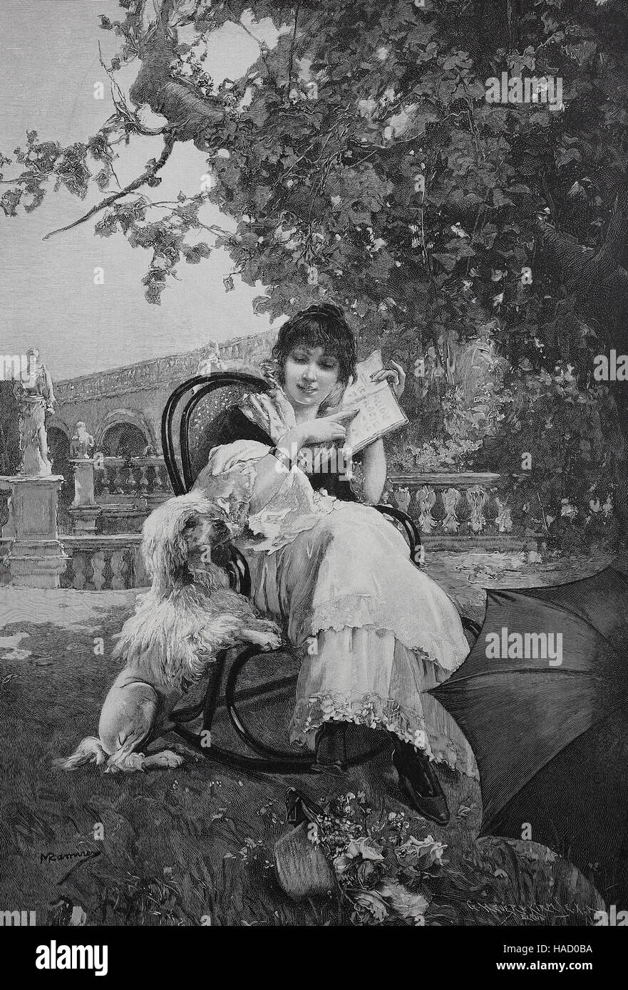 Young woman sitting in a chair trying to teach her dog reading, illustration published in 1880 - Stock Image
