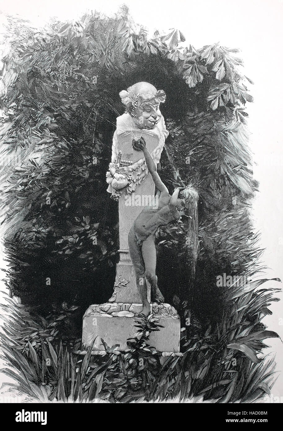 Fountain figures, illustration published in 1880 - Stock Image