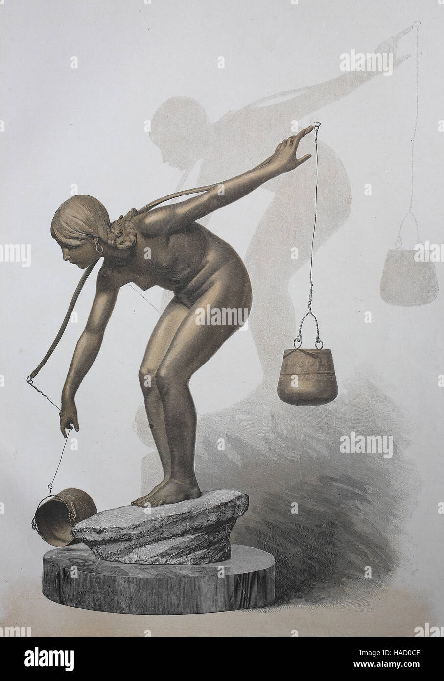 Statue of water creator, illustration published in 1880 - Stock Image