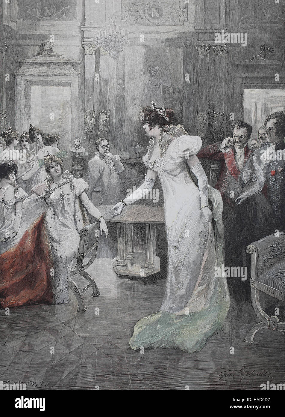 Scene from Madame Sans-Gene, an opera in three acts by Umberto Giordano, illustration published in 1880 - Stock Image