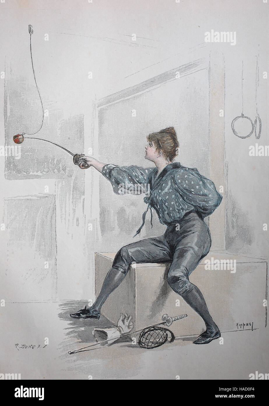 fencing woman, illustration published in 1880 - Stock Image