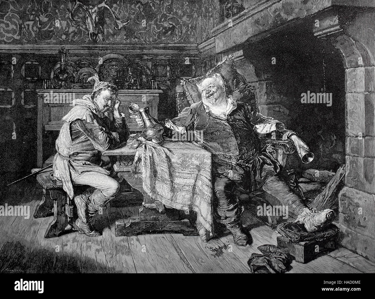 Bardolph and Sir John Falstaff, are fictional characters who appears in three plays by William Shakespeare, illustration - Stock Image