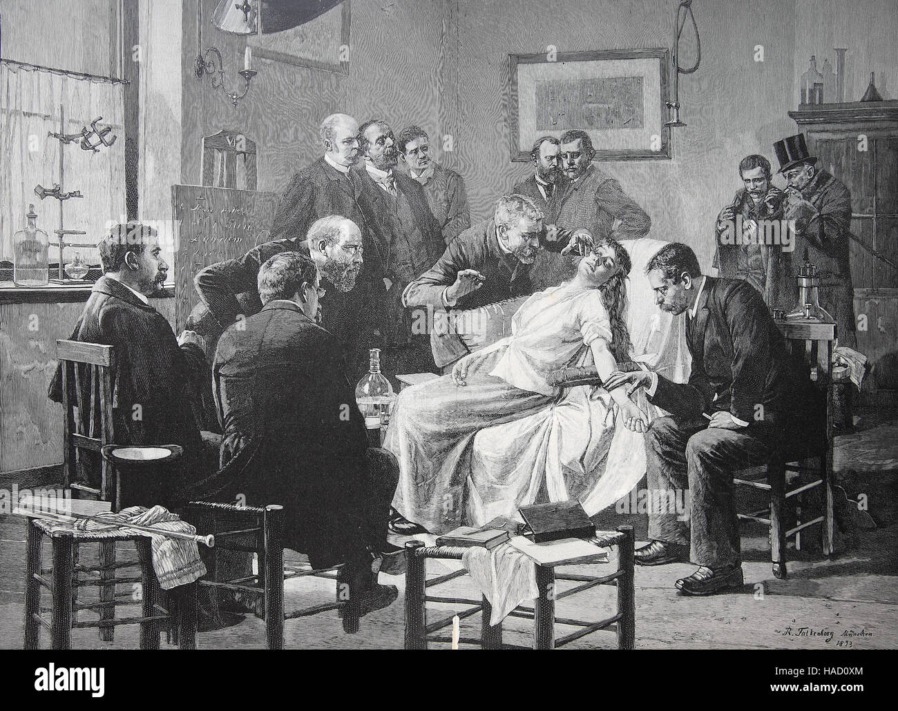 Hypnosis, A group scholar performs hypnosis on a patient, by B. Falkenberg, illustration published in 1880 - Stock Image