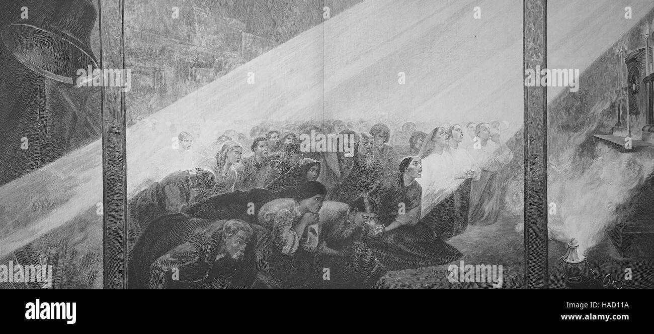 the praying, by A. Szymanowski, illustration published in 1880 - Stock Image