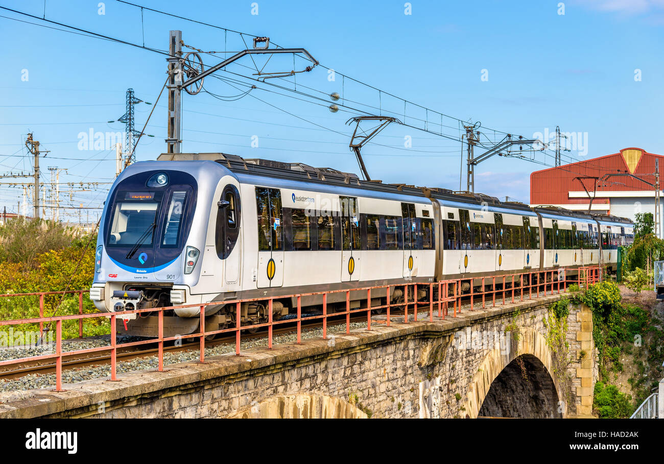 Hendaye, France - October 9, 2016: Metro Donostialdea train on the Spain - France border. It is a meter-gauge system - Stock Image