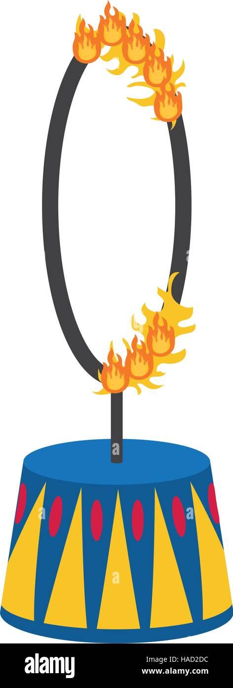 Circus fire hoop - Stock Image