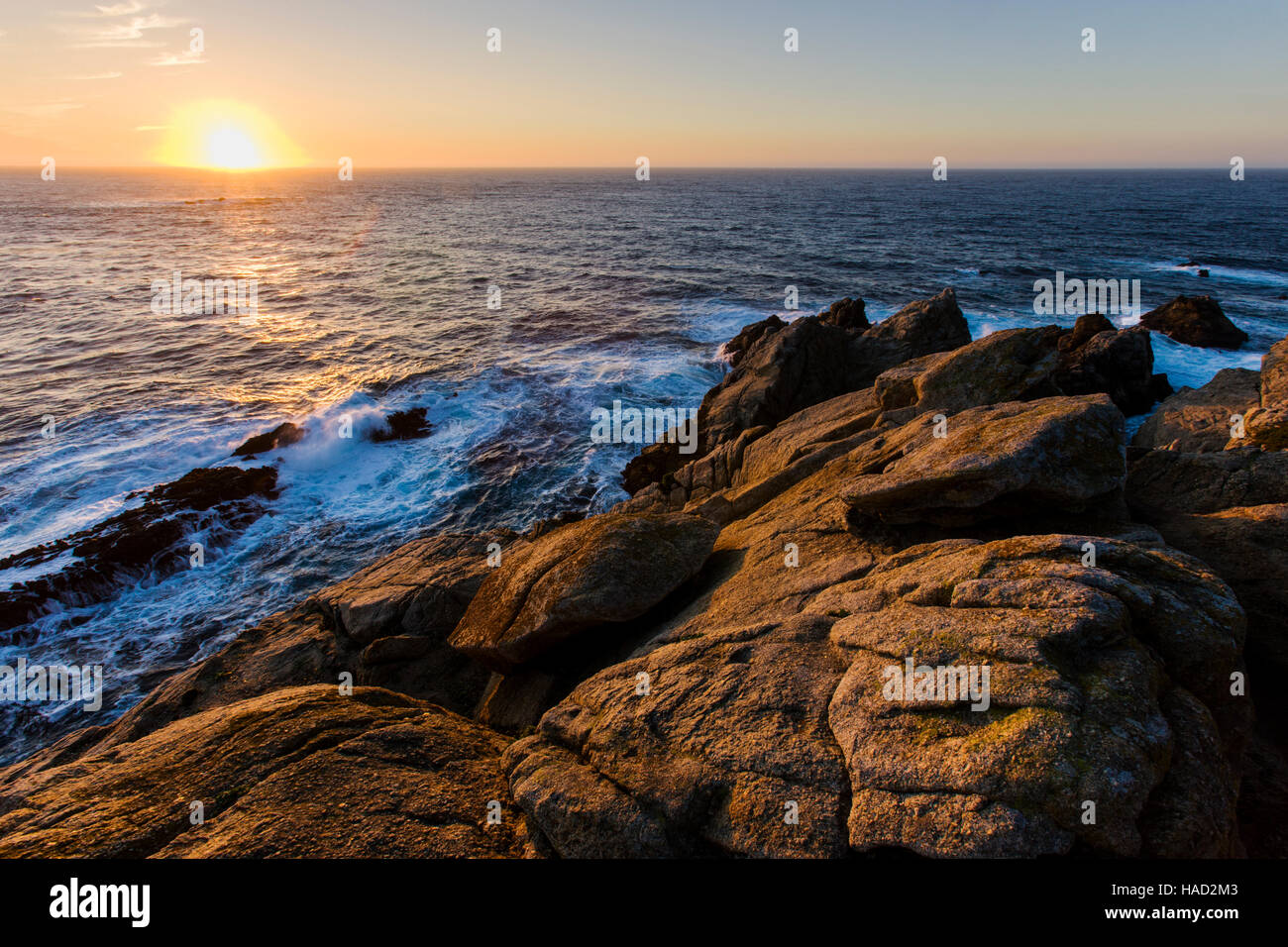 Sunset over the Pacific Ocean, Point Lobos State Reserve, Big Sur, California, USA Stock Photo