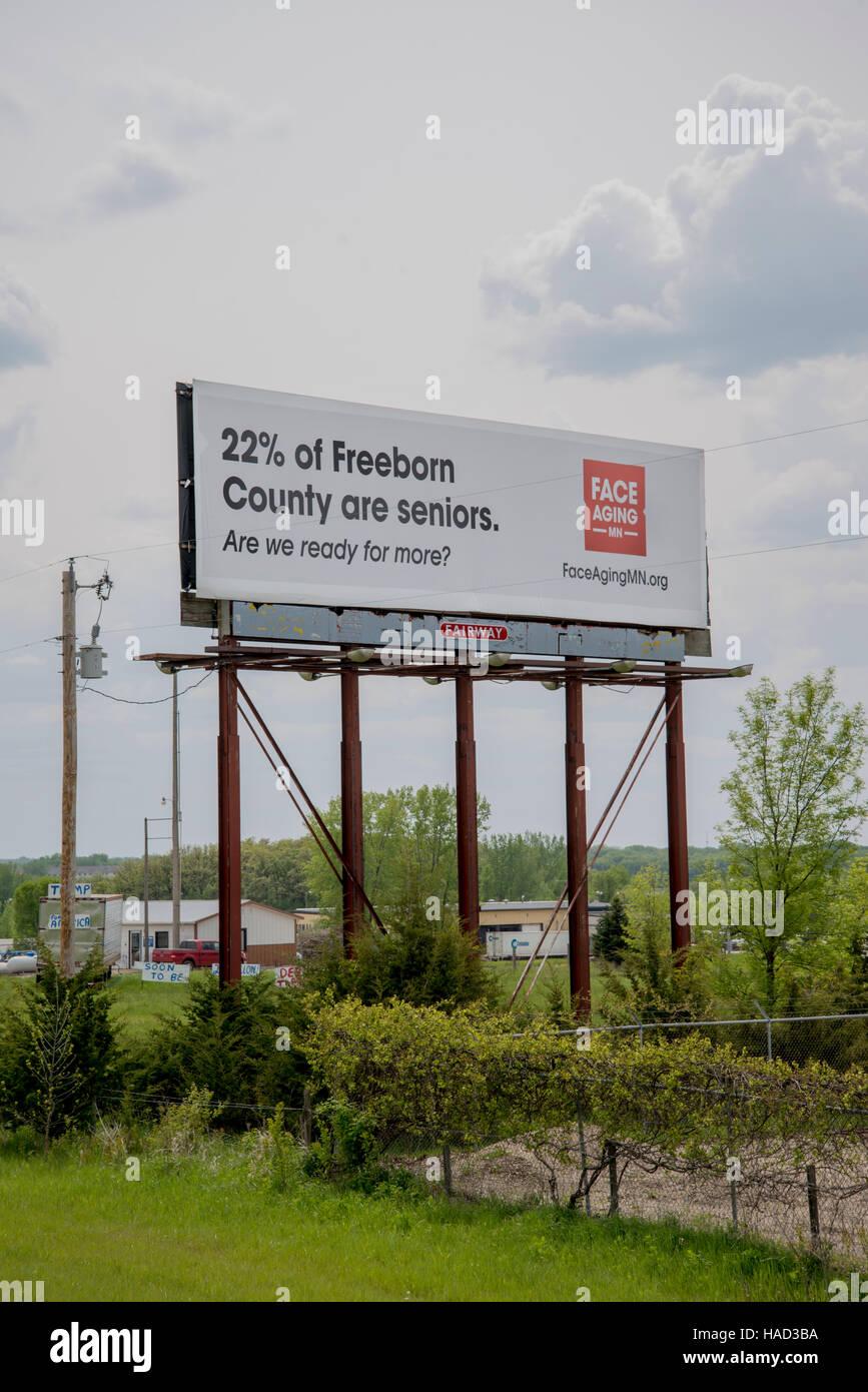 Albert Lea, Minnesota. Billboard on aging seniors.  A campaign to create awareness of Minnesota's growing aging - Stock Image