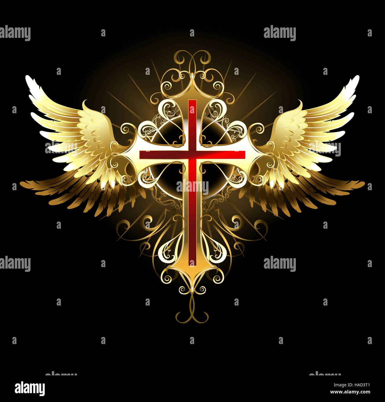 gold patterned cross jewelry with gold wings on a black background stock vector image art alamy https www alamy com stock photo gold patterned cross jewelry with gold wings on a black background 126907537 html