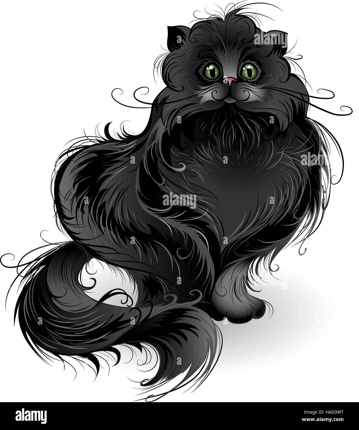 artistically painted , fluffy black cat of Persian breed , sits on a white background. - Stock Vector