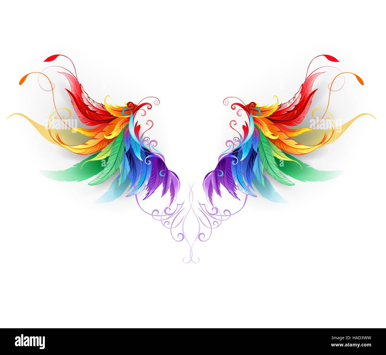 fluffy rainbow wings on a white background. - Stock Vector