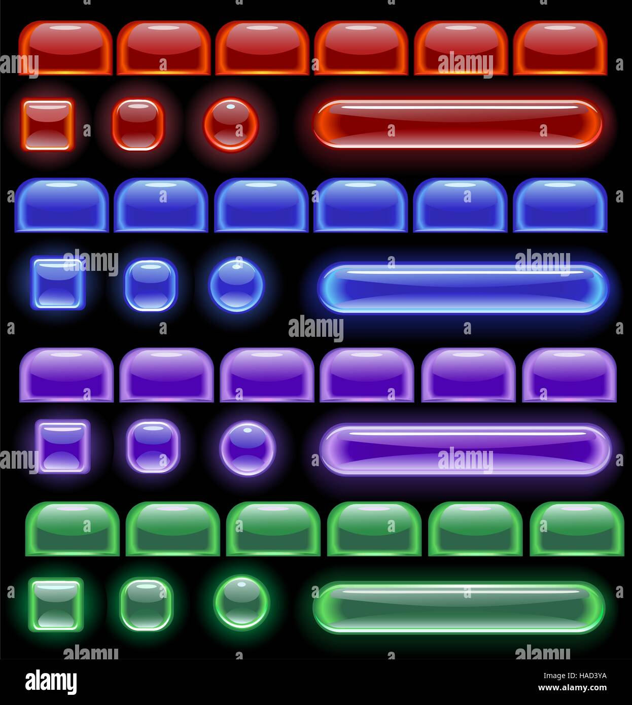 glowing computer icons: red, blue, green and purple on a black background. - Stock Vector