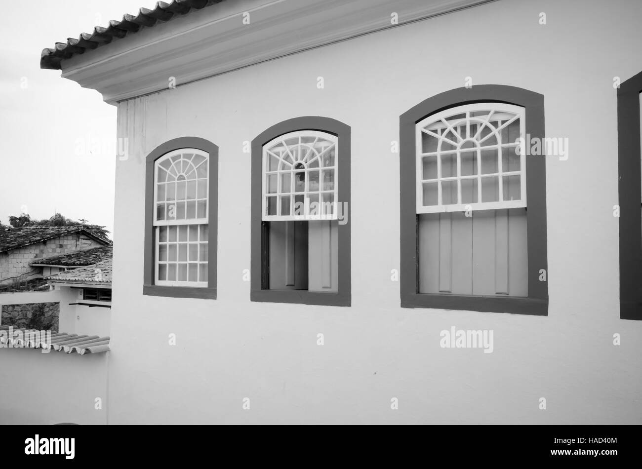 Street, old portuguese colonial houses in historic downtown of Paraty, State Rio de Janeiro, Brazil. - Stock Image