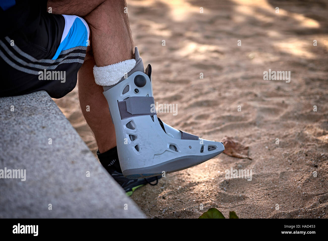 Medical support boot for foot or ankle ankle injury - Stock Image
