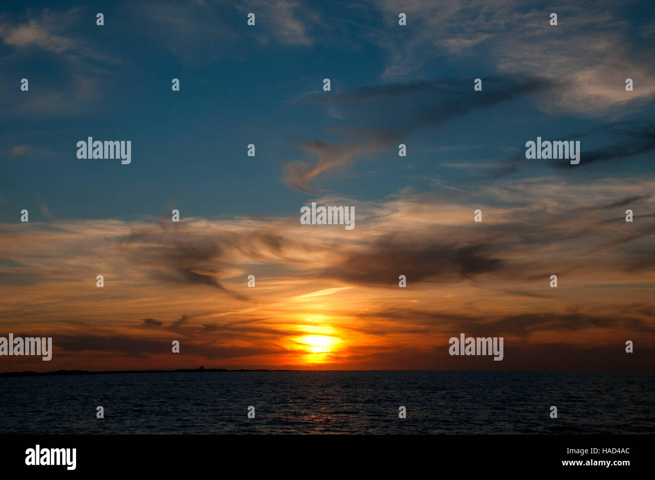 Sunset from ferry, Block Island, Rhode Island - Stock Image