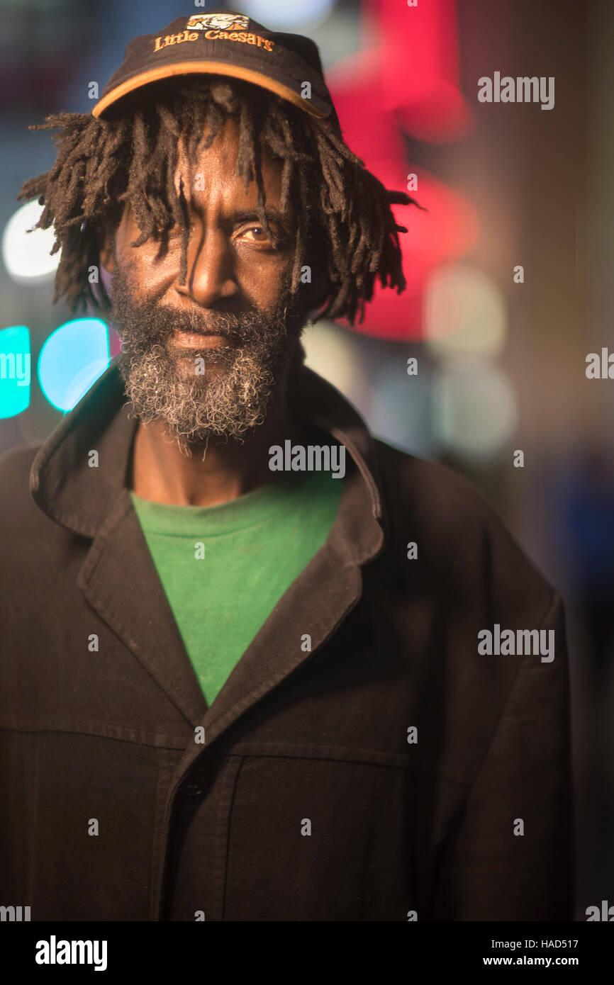 Indigent man, Hollywood Boulevard, Hollywood, Los Angeles, California, USA - Stock Image